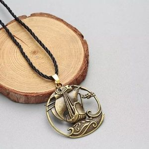 Antique Bronze Hollow Round Sailboat Rope Necklace